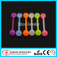Wholesale Bio Flex Flexible Glow In The Dark Ball Barbell with Acrylic Ball Tongue Ring