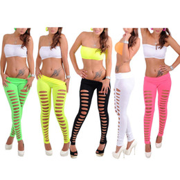 Wholesale S5Q Women s Sexy Hot Hole Skinny Candy Color Stretchy Pants Soft Leggings Tights AAADFU