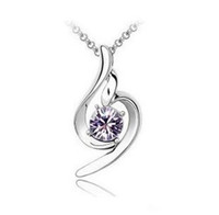 Pendant Necklaces angel - Top Hot Sale Silver Plated Austria Crystal Lucky Angel Women Necklaces Colors