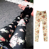 Wholesale S5Q Cool Women s Rose Print Skinny Trousers Leggings Stretch Pencil Tights Pants AAADFT