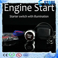 Wholesale Universal Auto Car Keyless Entry System LED Illumination Engine Ignition Push Start Button Starter Kit colors wu