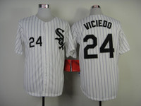Wholesale 2014 New Baseball Jerseys White Sox Dayan Viciedo White Black Pinstripe Baseball Shirts Authentic Sporting Jerseys Mens Athletic Apparel