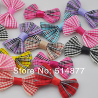 Wholesale 100 tartan plaid Gingham Ribbon Bows Flower Appliques Upick mm