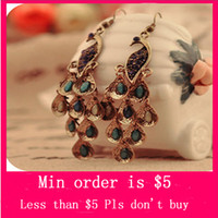 Wholesale Min Order Mix Jewelry order Women Bohemian Retro Blue Prancing Peacock Long Earrings Ear Rings Hook Clips E0036