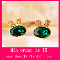Wholesale Min Order Mix Jewelry order New Fashion Women Girl Rhinestone Pair Cute Rabbit Ear Stud Earrings Gift E0195