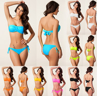 Women Bikinis Pure Colour Bathing Suit Bikini Swimwear Fringle Halter Swimming Trunks Monokini Swimsuit Micro Women Bikini Sexy Beachwear Bikini 7 Colors YZ08