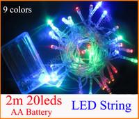 3XAA Batería 2m 20 LED string MINI HADA LUZ BATERÍA potencia OPERADA Blanco / Blanco / Azul / Rojo / Amarillo / Verde / Rosa / Purply / multicolor