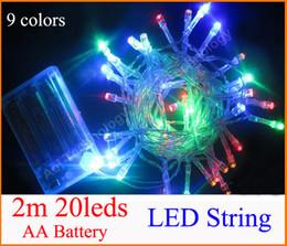 Luces de hadas blancas con pilas en venta-3XAA Batería 2m 20 LED string MINI HADA LUZ BATERÍA potencia OPERADA Blanco / Blanco / Azul / Rojo / Amarillo / Verde / Rosa / Purply / multicolor