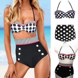 Wholesale New Cutest Retro High Waist Swimsuit Swimwear Vintage Pin Up Bikini Set S M L