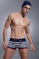 Sexy Men's Navy Stripes Swimwear Boxers Blue White Striped B...