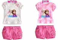 Wholesale 2color Frozen Girl Sets Children Clothing Princess Anna Elsa Flower Tshirt Tee Bowknot Shorts Pants Outfit Kids Snow Queen Suit