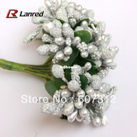 Wedding artificial leaves - Latest cm Silver floral Stamen flowers with green leaves artificial flowers