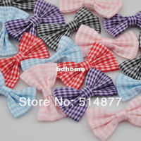 Wholesale 40pcs U Pick Tartan plaid Ribbon Bows flower Appliques craft mix A823