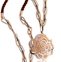 Wholesale New K Gold Filled Filigree Rose Long Pendant Necklace With Austria Crystal Floating Locket style