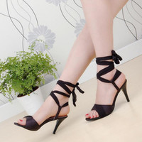 Wholesale 2016 Plus size lacing summer sandals women s thin heels sexy ribbon cross straps open toe high heeled sandals