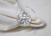 Wedding Guangdong China (Mainland) Decorative Flowers & Wreaths FREE SHIPPING --12pcs Clear Acrylic Flower Napkin Rings Wedding Bridal Shower Favor+Tracking no.