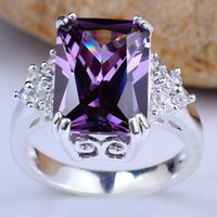 Wholesale Trendy Big Oblong Stone Lady Real Sterling Silver Ring Purple Amethyst White Gold Finish Holiday Gift R029