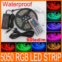 Wholesale 5050 RGB LED Strips Light SMD LED LED M Flexible LED light ribbon Waterproof IP65 with keys Controller V5A power