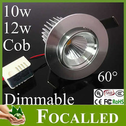 Super Brightness 10w 12W Led COB Downlights Silcery Shell Dimmable Ceiling Down light 60 Beam Angle 3 years warranty +Led Driver