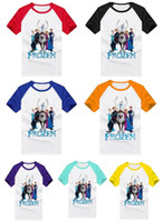 Unisex Summer Standard Hot Sale 2014 Summer New Children T Shirt Frozen Cartoon Pure Cotton Round Collar Kids Tshirts Splicing Color Childs Leisure Tees G0388