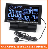 Wholesale LCD Display Car clock with Hygrometer Digital Automotive Thermometer Weather Forecast top sale