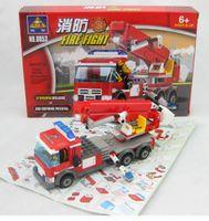 Plastics   Kazi Fire Fight Fire Truck 8053 Building Blocks Sets 244pcs Legoland Educational DIY Bricks Toys Children Christmas