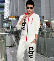 Wholesale 2014 Hot Spring Autumn Long Sleeve Tops Long Pants Set Men Clothing Hooded Tracksuit High Quality Adult Casual Letter Sport Suit H0740