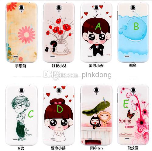 Buy color printing hard PC plastic cute girl boy cartoon case cover skin shell lenovo A850 cheap