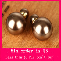 Wholesale Min Order Mix Jewelry order High quality Celebrity Runway Double Pearl Beads Plug Earrings Ear Studs Pin E0099