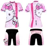 Wholesale 2014 New Summer Women Ladies Cycling Bike Bicycle Short Sleeve Jersey Jerseys Wear Shorts Kitty Pink XS XXXL