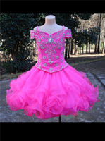 Wholesale Beautiful Two Piece Set Little Girls Pageant Dresses Off the Shoulder Beaded Spaghetti Straps and Bodice Ruffled Short Skirt Fuchsia Girls