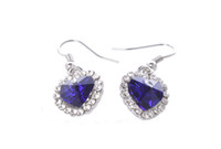 1 Pair of Sapphire Blue Crystal Rhinestone Heart Earrings #2...