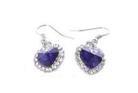 1 Pair of Sapphire Blue Crystal Rhinestone Heart Earrings #2...