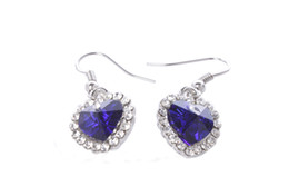 1 Pair of Sapphire Blue Crystal Rhinestone Heart Earrings #24932