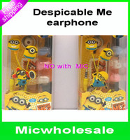 cute mp3 earphone - cartoon Despicable me Minion mm earphone Headset cute Headphone Universal Earphone For PC MP3 MP4 Cellphone with retail box
