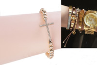 1PCS Fashion Rhinestone Cross Brass Beaded Stretch Bracelet