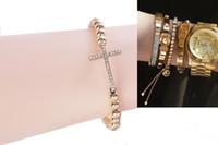 1PCS Fashion Rhinestone Cross Brass Beaded Stretch Bracelet