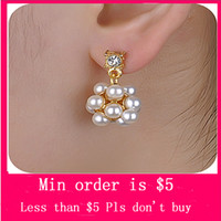 Wholesale Min Order Mix Jewelry order Gold Colour Rhinestone Imitation Pearl Ball Earrings E0305