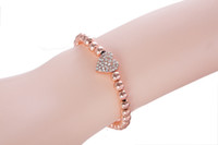 1PCS Fashion Rhinestone Heart Brass Beaded Stretch Bracelet