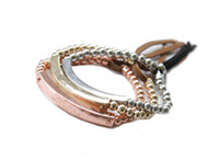3PCS Mixed Colours Fashion Brass Beaded ID Stretch Bracelets...