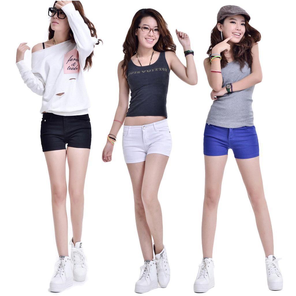 S5Q Women Ladies Casual Candy Colour Shorts Short Jeans