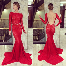 Fashion Red Lace Sexy Backless Open Back Sheath With Belt Long Sleeve Evening Dress Evening Gown