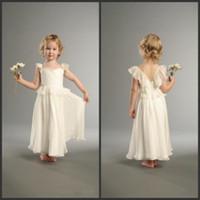 cheap items - 2014 Hot Item Cap Sleeves Junior Bridesmaid Dresses Cute Little Girl Princess Gowns Ivory Chiffon Ankle Length Flower Girls Dresses Cheap