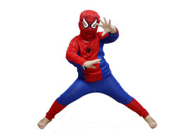 Wholesale 1set Halloween Costume Party Cosplay Clothes Kids Boys Spider Man Suit