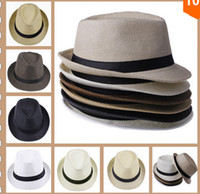 Wholesale Cowboy Hats Ribbon - Hot Sale Unisex Women Men Casual Trendy Beach Sun Straw Panama Jazz Hat Cowboy Fedora Gangster Cap with Black Ribbon 7 Colors