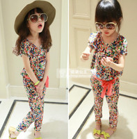 Wholesale 2014 New Summer Children Girls Set Cotton Fashion Bohemian Style Soft Leisure T Shirt Pants piece Sets Belt Floral Kids Girl Outfit C2293