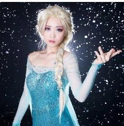 New 2016 Frozen most popular cartoon girl Hair Wigs children Cosplay Wig Elsa princess white fluffy long hair single plait ponytail
