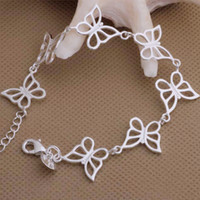 Wholesale High Quality Sterling Silver Bracelets Butterfly Chain Bracelets Bangles DHL AB005