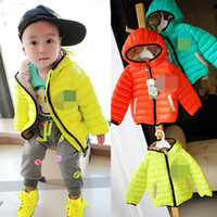Wholesale Hot Winter Kids Boys Cotton Long Sleeve Hooded Zipper Clothes Childs Clothing Warmth Solid Jackets Children Boy High Quality Coat Tops H0743