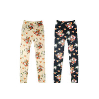 Leggings Skinny,Slim Long S5Q Cool Women's Rose Print Skinny Trousers Leggings Stretch Pencil Tights Pants AAADFT
